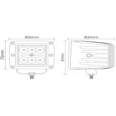 Светодиодная фара в алюминиевом корпусе 18W 82мм 6LED CREE