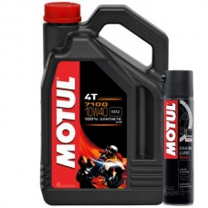 АКЦИЯ!!! Масло моторное MOTUL 7100 4T (4 литра) + Смазка цепи MOTUL Chain Lube Road Plus (400мл)