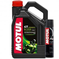 АКЦИЯ!!! Масло моторное MOTUL 5100 4T (4 литра) + Смазка цепи MOTUL Chain Lube Road Plus (400мл)