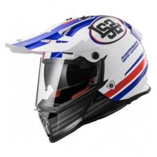 Шлем LS2 MX436 PIONEER QUARTERBACK белый/красный/синий глянцевый