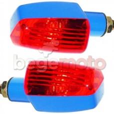 Поворотники М7 синие прямоугольные (красное стекло)