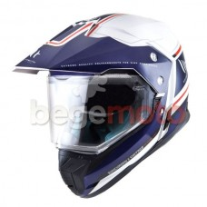 Шлем MT Helmets SYNCHRONY DUO Эндуро (со стеклом) белый/голубой