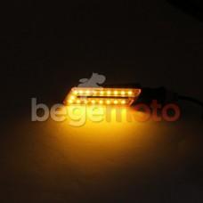 Поворотники светодиодные прямоугольные с прорезью (желтое стекло)