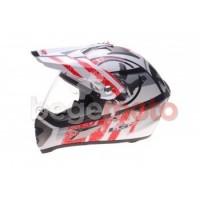 Шлем LS2 MX433 STRIPE VISOR эндуро (со стеклом) белый/красный