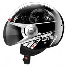 Шлем LS2 OF518 Copter полуинтеграл черный глянцевый
