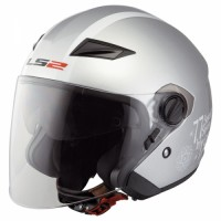 Шлем LS2 OF569 Clover полуинтеграл (с очками) серебрянный глянцевый