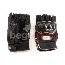 Перчатки текстильные полупальцы с защитой Pro-Biker