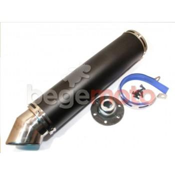 Выхлопная труба (глушитель) прямоток GY6 4T 420х100мм (крепление 78мм) (черный)