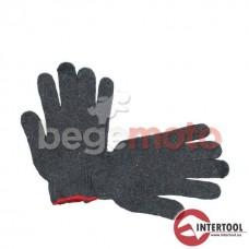 """Перчатки х/б трикотаж с точечным покрытием PVC на ладони 9"""", серая INTERTOOL"""