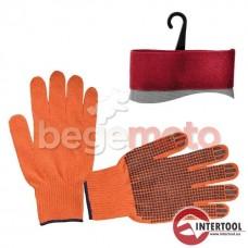 Перчатки х/б трикотаж с точечным покрытием PVC на ладони (оранжевая) INTERTOOL